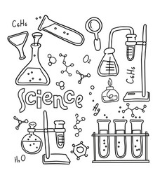 Set laboratory equipment in black and white vector
