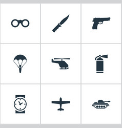 set of 9 simple army icons can be found such vector image