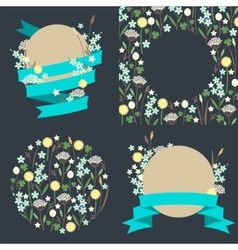 Set of meadow flowers compositions vector image