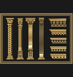 Set silhouettes classic vintage golden capitals vector