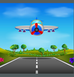 Showing a flying plane landing vector