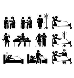 Sick illness and injury treatment medication vector