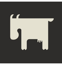 Silhouette of white goat with small horns standing vector