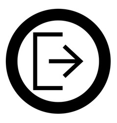 Symbol exit icon black color in circle round vector