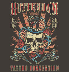 Tattoo convention in rotterdam colorful poster vector