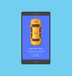 taxi car top view order app screen for vector image