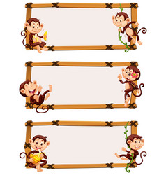three banner template with happy monkeys vector image vector image