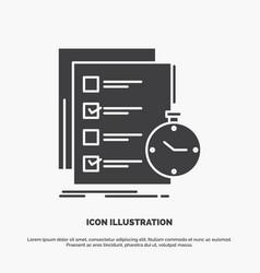 Todo task list check time icon glyph gray symbol vector
