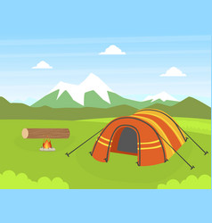 Tourist tent on natural mountain landscape summer vector