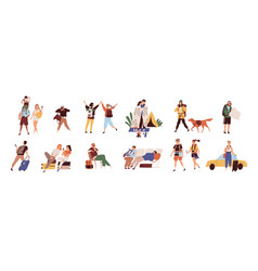 Tourists on vacation flat set vector