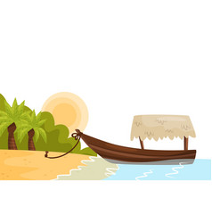 tropical landscape with sandy beach palm trees vector image