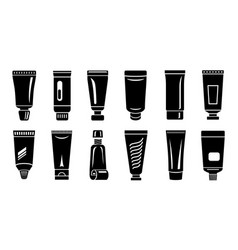 tube paste container icons set simple style vector image