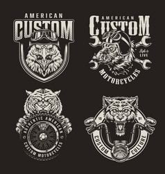 vintage monochrome custom motorcycle emblems vector image