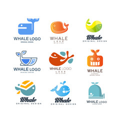 whale logos original design set creative emblems vector image