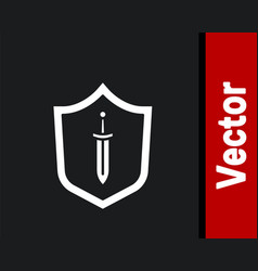 White medieval shield with sword icon isolated on vector