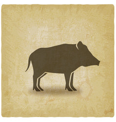 wild boar silhouette vintage background vector image
