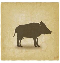 wild boar silhouette vintage background vector image