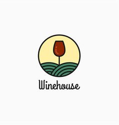 wine glass logo linear wine design on white vector image