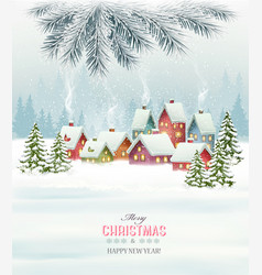 Winter village night new year background vector