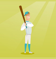 young caucasian baseball player with a bat vector image