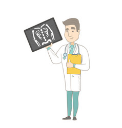 Young caucasian doctor examining a radiograph vector