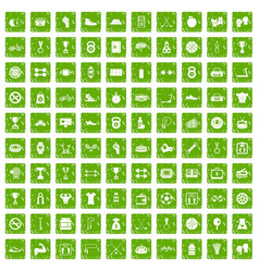 100 boxing icons set grunge green vector image vector image