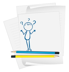 A paper with a sketch of a confused person vector image vector image