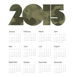 camouflage calendar 2015 design vector image vector image