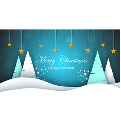 merry christmas happy new year winter landscape vector image