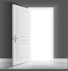 Open white entrance door Business success vector image