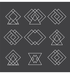 Set of trendy geometric shapes hipster logotypes vector