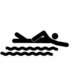 swimming person stick the black color icon vector image vector image