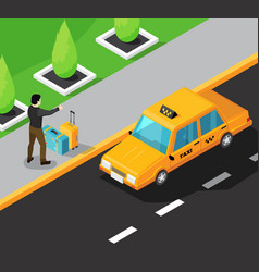 taxi service isometric background vector image vector image