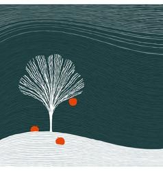 Winter apple tree vector image vector image