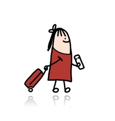 Woman with suitcase and ticket cartoon vector image