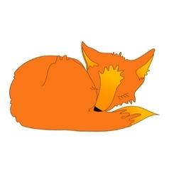 cartoon sleeping fox vector image vector image