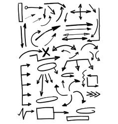 Hand Drawn Doodle Arrows Set vector image vector image