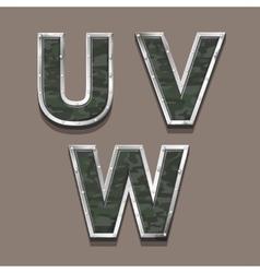 Military letters alphabet Steel Metallic khaki vector image vector image