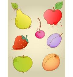 set of hand drawn bright fruits vector image vector image