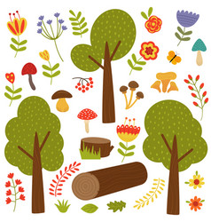 set of isolated trees and plants vector image