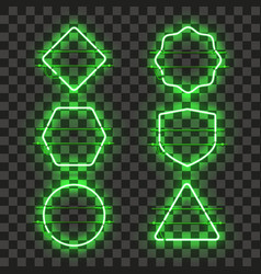 set of realistic glowing green neon frames vector image vector image