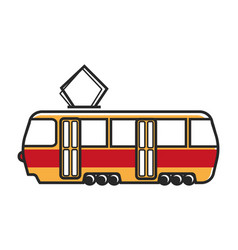 tram wagon with special metal antenna isolated vector image vector image