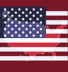 United states map on the national flag element vector image vector image