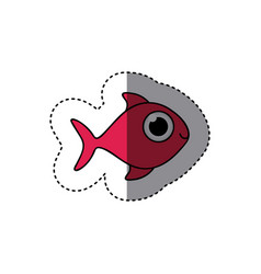 fucsia happy fish cartoon icon vector image vector image