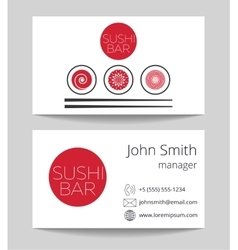 Japanese sushi bar business card template vector image