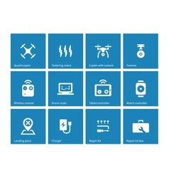 Multicopter drone icons on blue background vector image