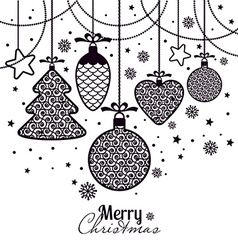 New Years greeting card merry Christmas Black New vector image
