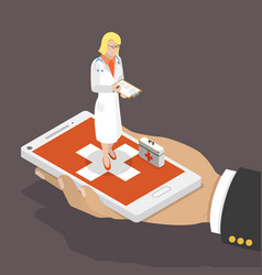 online doctor flat isometric low poly concept vector image vector image
