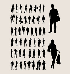 People standing silhouettes vector