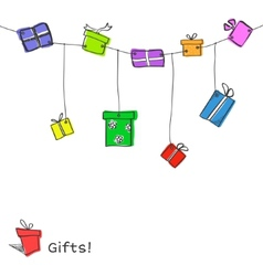 Sketch gift boxes garland vector image